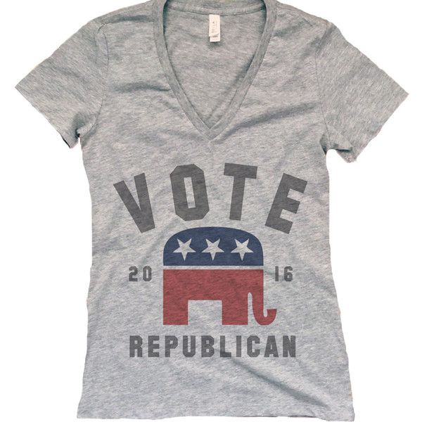 Womens Vote Republican Bella-Canvas Deep v Neck Shirt Womens Vintage... ($27) ❤ liked on Polyvore featuring tops, t-shirts, silver, women's clothing, vintage shirts, relaxed fit t shirt, low v neck t shirts, vintage tee-shirt and vintage tees