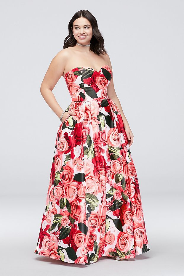 Satin Lace-Up Strapless Floral Plus Size Ball Gown | David\'s ...