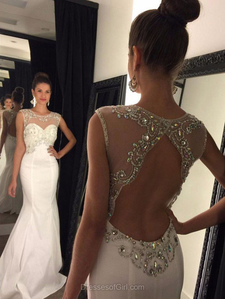 Mermaid Prom Dresses, Tulle Prom Dress, White Evening Dresses, Scoop Neck Party Dresses, Open Back Formal Dresses