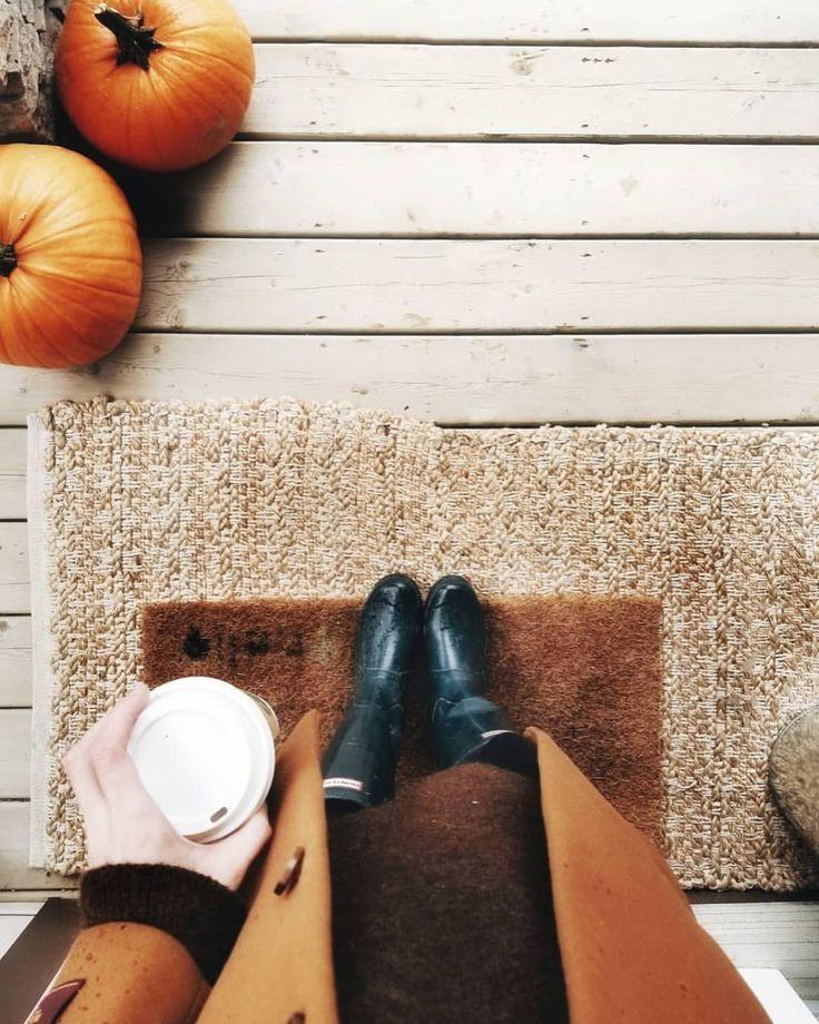 autumn and fall aesthetic | Hunter rain boots, Amber coat, pumpkins, coffee, doormat