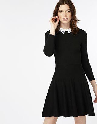 Carmen Contrast Collar Fit & Flare Dress