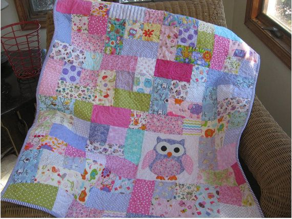 Ready To Ship Handmade Pink And Purple Owl Quilt Baby