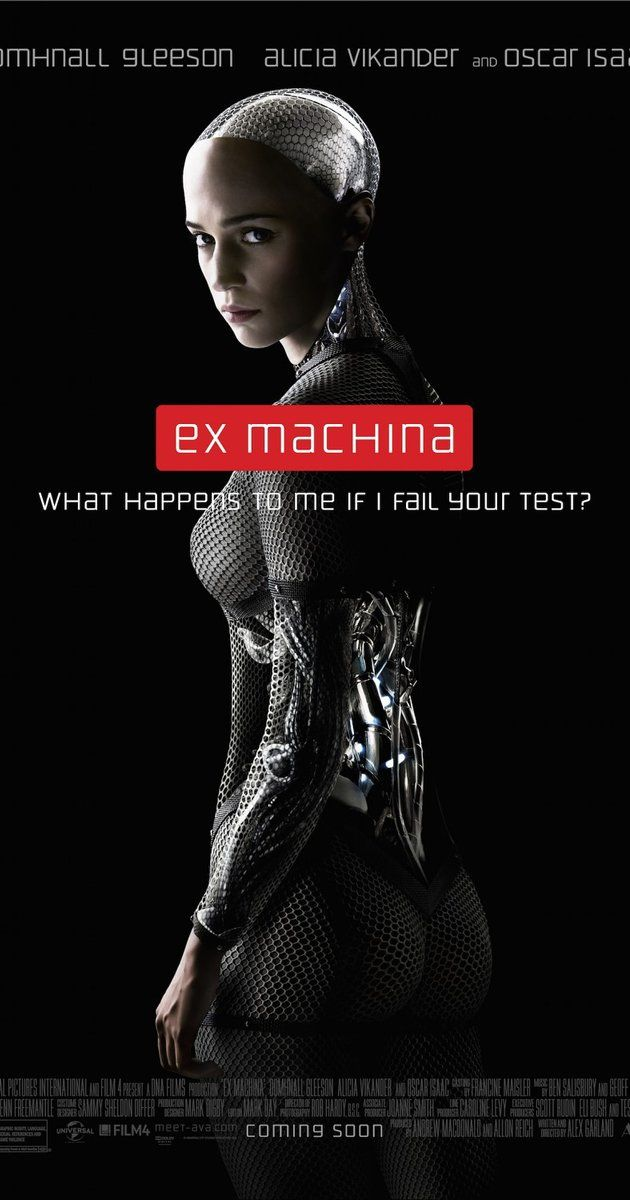 Directed by Alex Garland.  With Alicia Vikander, Domhnall Gleeson, Oscar Isaac, Sonoya Mizuno. A young programmer is selected to participate in a ground-breaking experiment in synthetic intelligence by evaluating the human qualities of a breath-taking humanoid A.I.