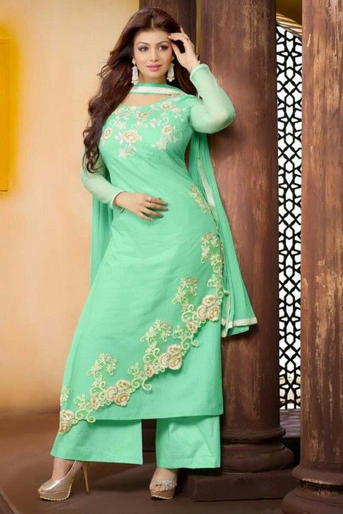 Ready made online, Trouser cotton suits for prom, Green embroidered garments now in shop. Andaaz Fashion brings latest designer ethnic wear collection in UK  http://www.andaazfashion.co.uk/salwar-kameez/trouser-suits/bollywood-green-cotton-trouser-suit-with-dupatta-dmv14104.html