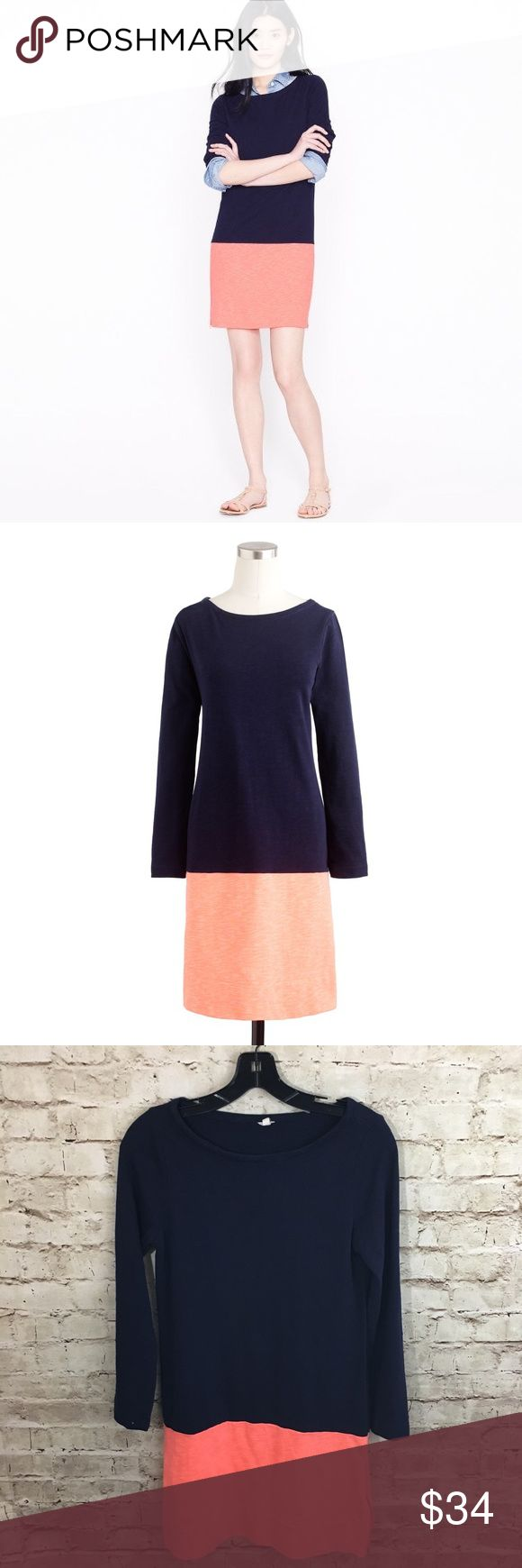 "J Crew Maritime Colorblock Dress Navy Coral XS J Crew Maritime Colorblock Dress in Size XS! Navy long sleeve top with orange coral bottom with side zips in both sides! The cutest dress can be worn with a collared shirt under or alone! Armpit to armpit is 16"", hips 17.25"" across. 100% cotton. Excellent Condition with no holes or stains! Ready to wear! J. Crew Dresses"