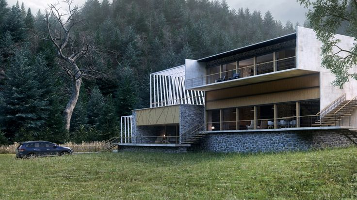 Dream House, Dream Home, Forest, Stone, Natural and Eco Design and Render.     Providing 3D Rendering Services