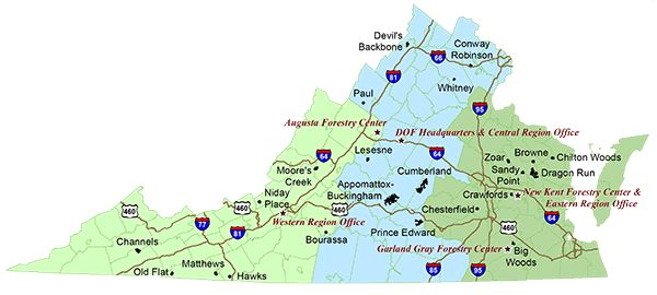 Map of Virginias State Forests  Virginia  Pinterest  State