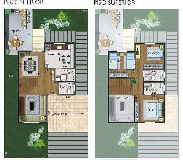 Planta com 3 quartos (1 suíte), sala de tv, sala de jantar, lavabo   – Plantas 3 Quartos
