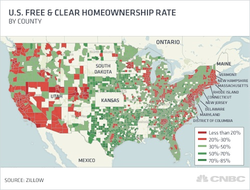 MAP: Homeowners With No Mortgage - Business Insider - Over 20 Million Americans Own Their Homes Outright #realestate
