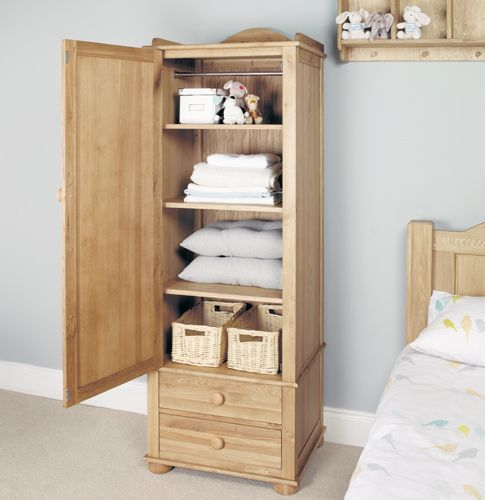 Amelie Oak Childrens Single Wardrobe #home #furniture #oak #wood #interior #decor #design #wardrobe #storage #clothing #bedroom