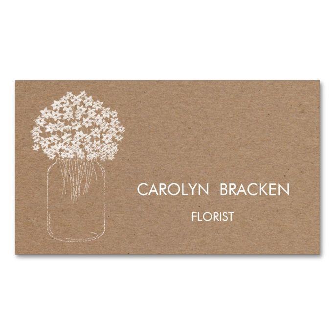 Rustic brown kraft paper mason jar flowers business card for Brown paper business cards
