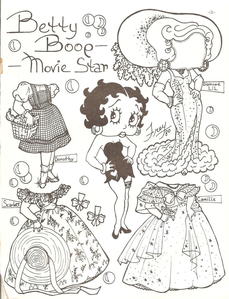 Betty boop by pat frey black and white paper dolls from the paper doll