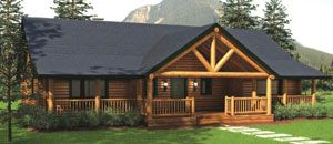 western ranch with covered porch house plans | American Log Homes
