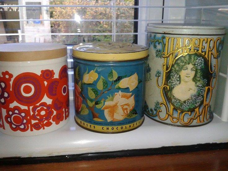Vintage retro pots, jars and tins
