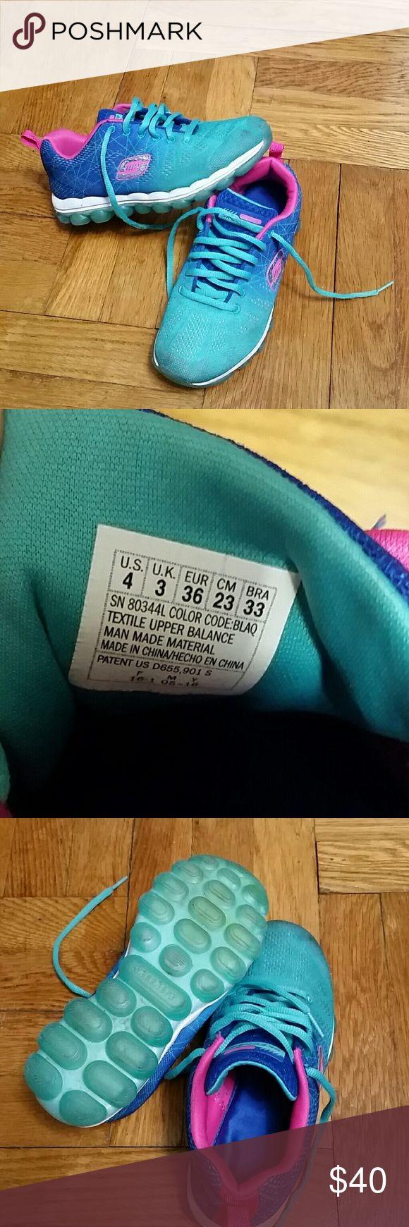 Kids Skechers Kids Skechers. Skech-Air-Laser Lite sneaker. Walking and training shoe. Air cushioned outside. Gel infused memory foam insole. Size 4. Skechers Shoes Sneakers