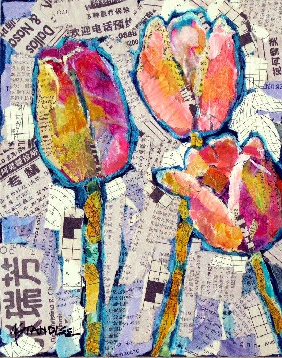This is beautiful - I think you could do something like this as a kids art project - glue the newspaper collage down and let them paint on top after it dried - then mod podge or glaze over the top.: