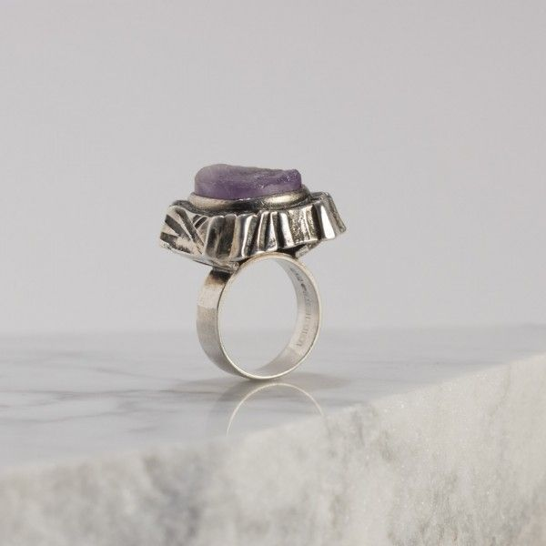 Silver and amethyst ring by Pentti Sarpaneva