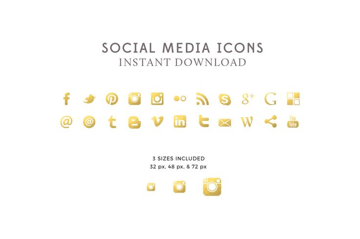 Gold Foil Social Media Icons & Buttons - Premade Social Media Icons - Blog Design - Website Icons - PNG - INSTANT DOWNLOAD by ByStephanieDesign on Etsy