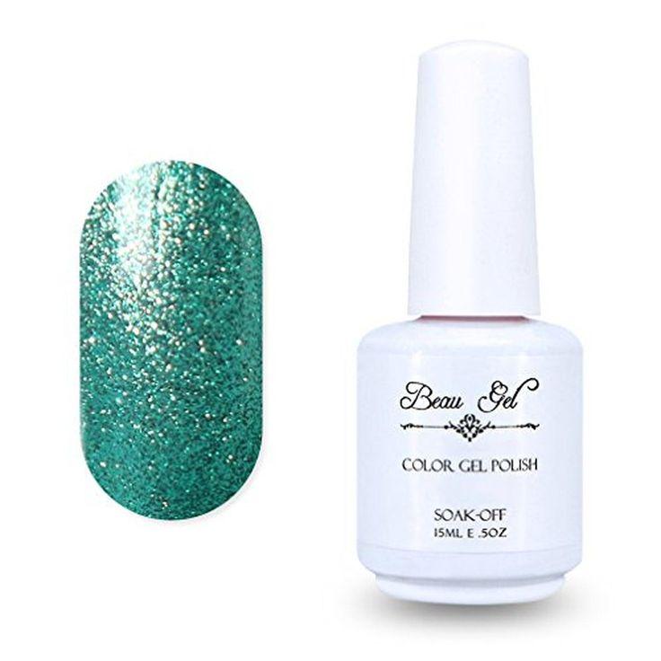 Gel Nail Polish, Beau Gel Soak Off Gel Polish Color Nail Lacquer UV LED Manicure 15ml Pearl Medium Aquamarine (668) - Brought to you by Avarsha.com