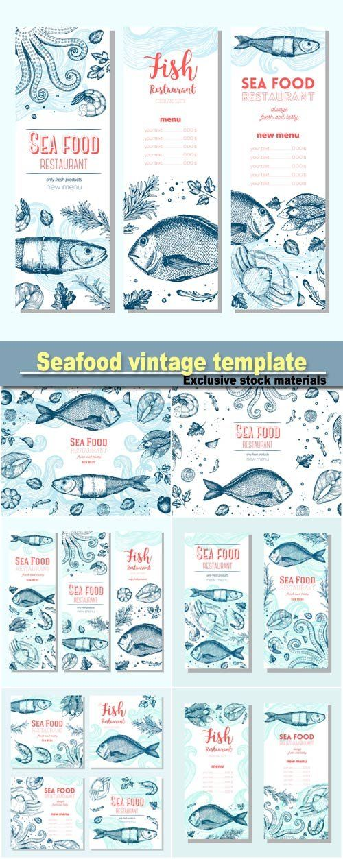 Seafood vintage design template vertical banners set fish and seafood restaurant menu