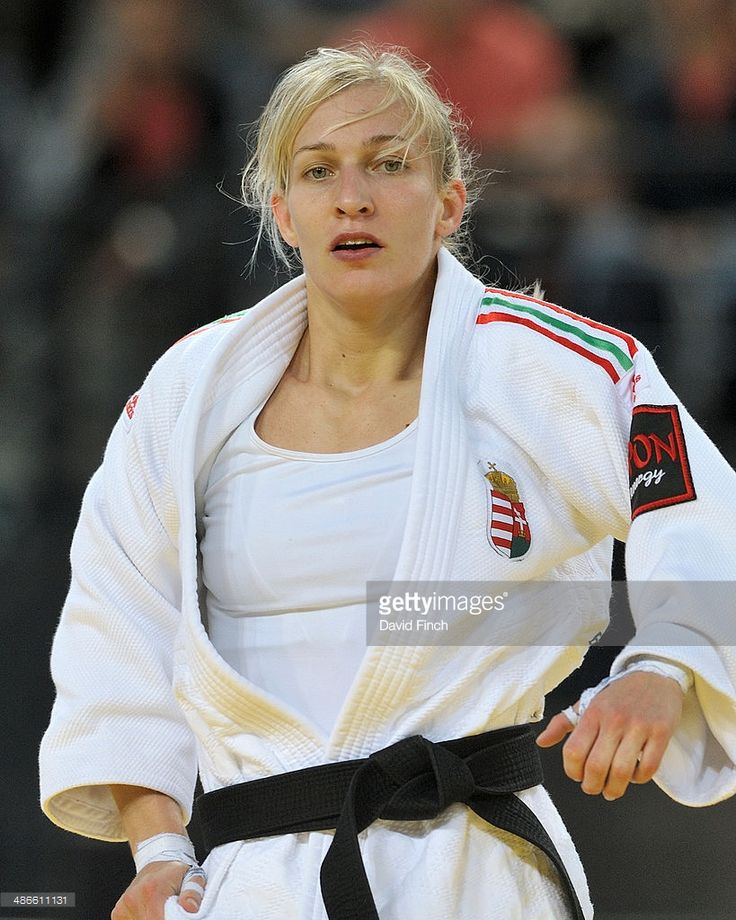 Defending u48kg champion Eva Csernoviczki of Hungary is seen in the final at the Montpellier European Judo Championships on April 24 2014 at the Park&Suites Arena, Perols, Montpellier, France.