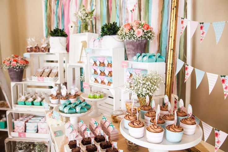 Aqua, Pink And flowers  Baptism Party Ideas   Photo 1 of 20