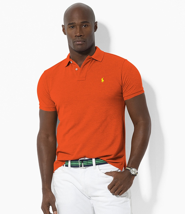 Polo ralph lauren big tall classic fit short sleeved for Mens orange polo shirt