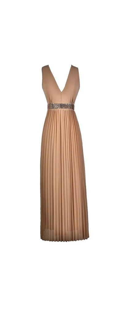 Pleats and Thank You Sequin Embellished Maxi Dress in Light Taupe www.lilyboutique.com