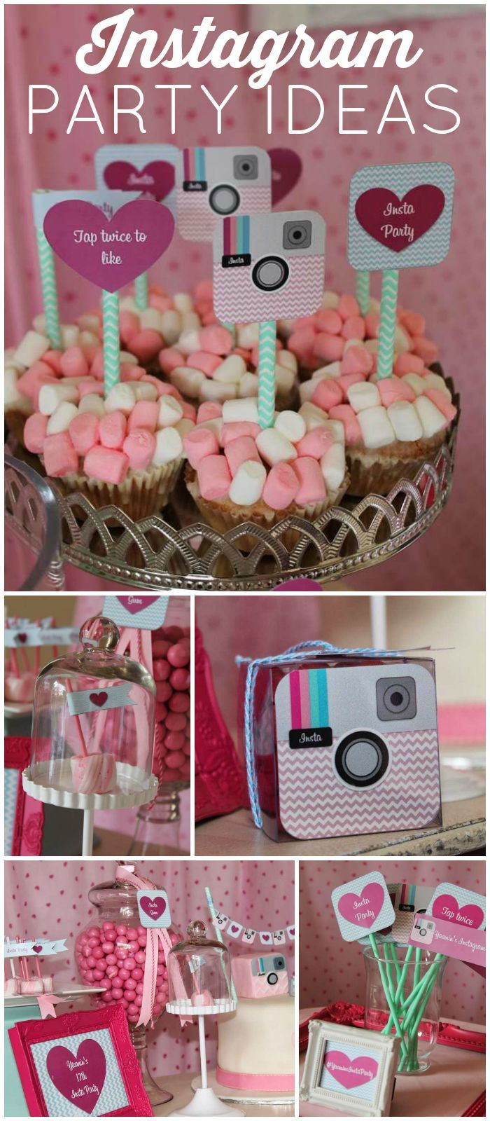 How cool is this girly Instagram birthday party?! See more party ideas at CatchMyParty.com!