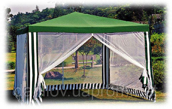 Садовый павильон  3 х 3 м -  это экономный вариант беседки с  противомоскитной сеткой Такие павильоны используют на садовых и дачных участках как беседку или укрытие от дождя  и ветра, а также для проведения различных рекламных, агитационных и  праздничных мероприятий, или как торговые точки. Изготовлен павильон из  водонепроницаемого материала, плотностью  118г/м2. Каркас ― стальная труба  d-18 мм, окрашенная порошковой краской.
