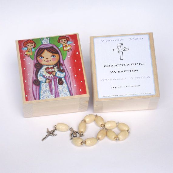 Immaculate Heart of Mary box Sacred Heart of Mary keepsake box First Communion favor Rosary box Baptism favors for girl First Communion gift