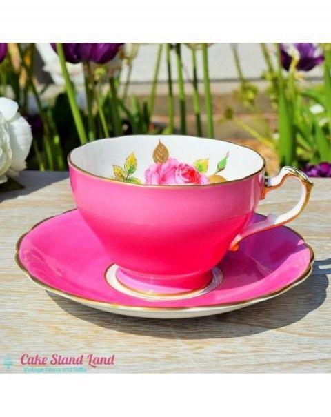 4db11fd4e3f ROYAL TRON SHOCKING PINK TEA CUP & SAUCER | bollar in 2019 | Pink ...