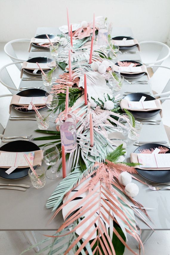 Tropical pastel party decor.