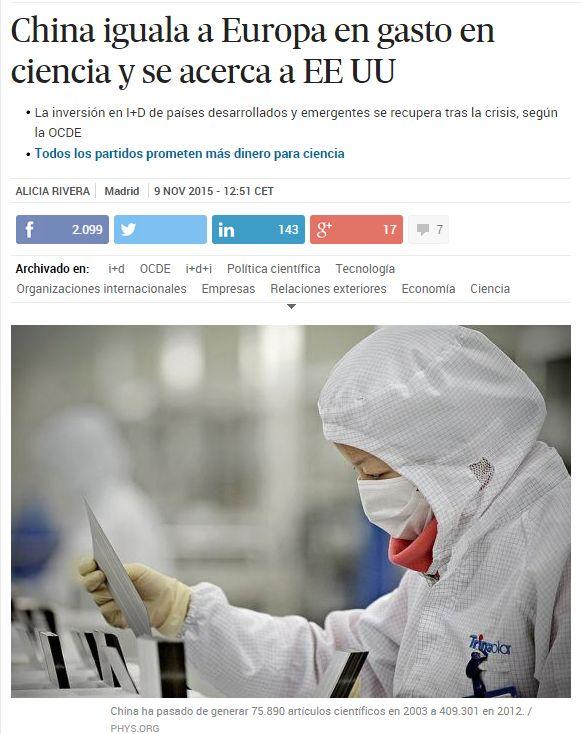 China iguala a Europa en gasto en ciencia y se acerca a EE UU / @materia_ciencia | #readytoresearch #sinciencianohayfuturo