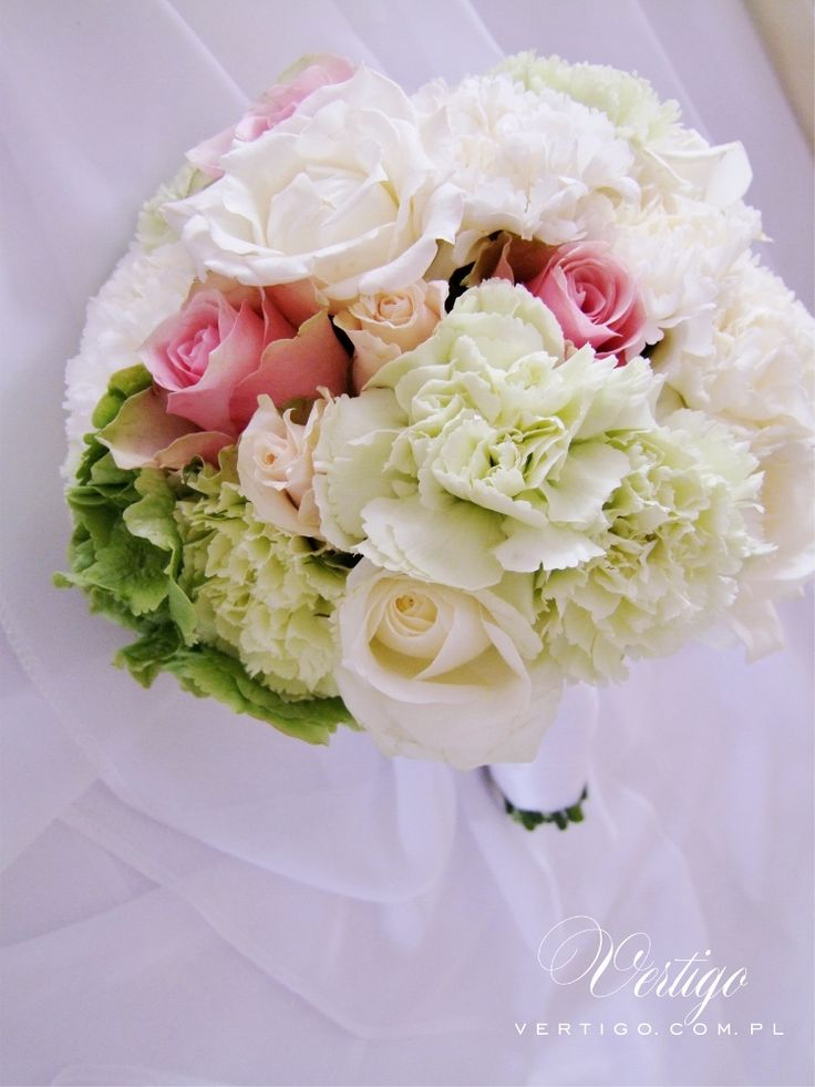 wedding bouquet, hydrangea, carnations, roses pink, green, crem and white wedding bouquet