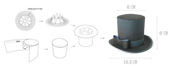 All occasion mini top hats: Instantly download PDFs. Print & Make!! How to make a mini paper top hat. Classic black mini top hat featured! http://www.amazon.com/dp/B00D3BFUIA