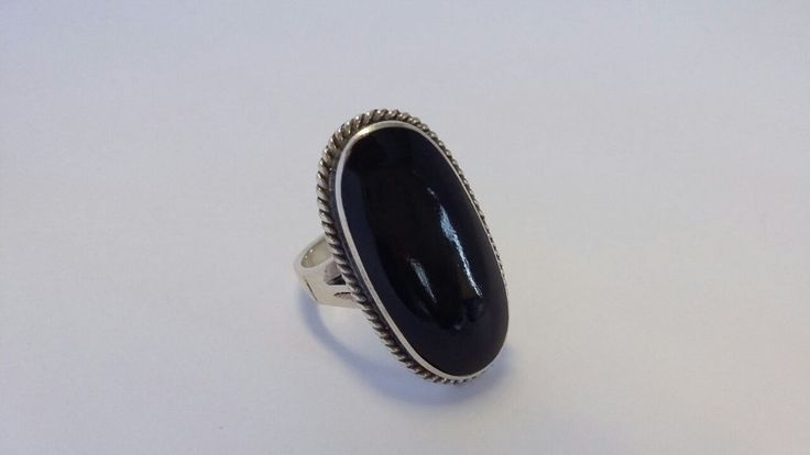 925 Sterling Silver Ring with Large Oval Onyx