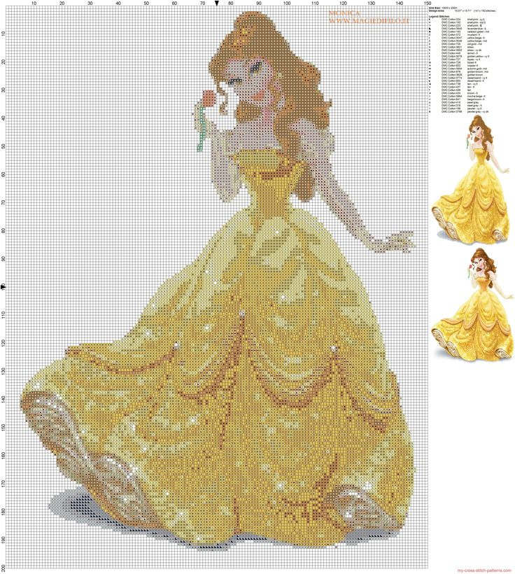 Free Disney Cross Stitch Patterns | ... cross stitch pattern 150x200 31 colors...pattern of Disney's princess