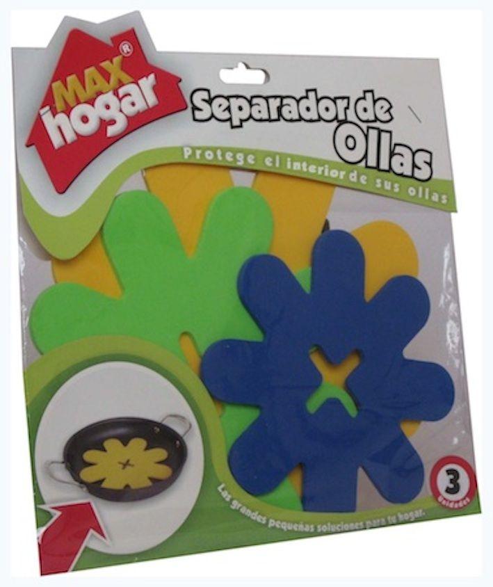 El separador de ollas es un producto diseñado para proteger el interior de las ollas en el momento de guardarlas apiladas una encima de otra. El paquete del separador de ollas trae tres presentaciones que se ajustan a los diferentes tamaños de sus ollas.