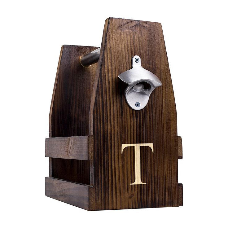 Cathy's Concepts Personalized Rustic Craft Beer Carrier with Bottle Opener, Letter T > You can get more details here : Specialty Cookware