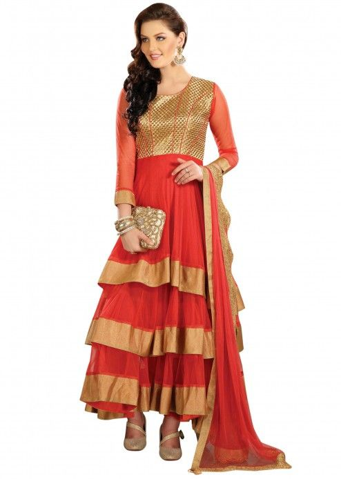 Red anarkali suit highlighted in zari and frills