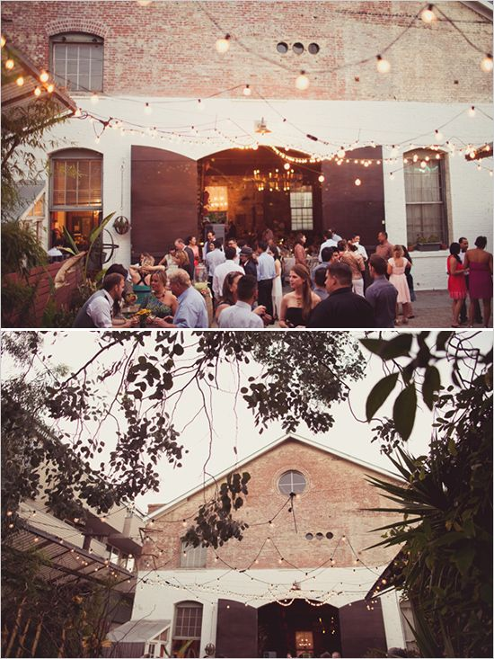 outdoor wedding venue with hanging lights