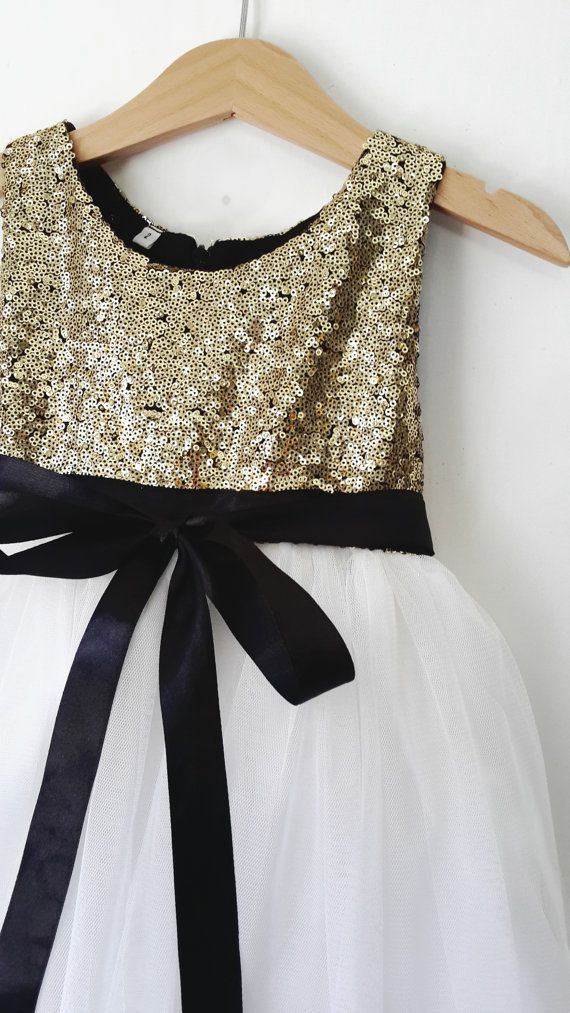 Gold and White flower girl's dress gold sequined by DearMimiDress