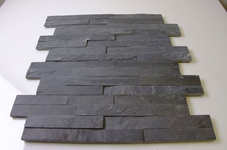 """Split Face Black Slate Maxi  Mosaic ( """" Z """" shaped ) wall cladding tiles direct from the importer with mid / dark grey tones ,for the cheap price of £26.99 per m2 inc of VAT from East Sussex . Top quality tiles available straight from stock with no lead time at affordable prices."""