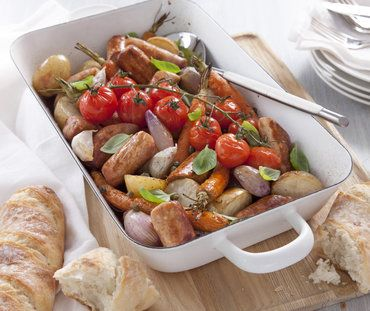 TWICE COOKED QUORN SAUSAGES WITH ROASTED VEGETABLES IN RED WINE SAUCE