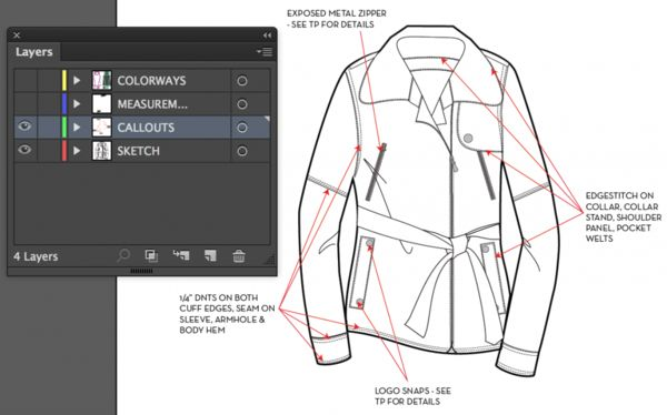 Fashion Flat Sketching Tutorial in Illustrator: Fashion Technical Flats in Illustrator Using Layers  #illySCHOOL