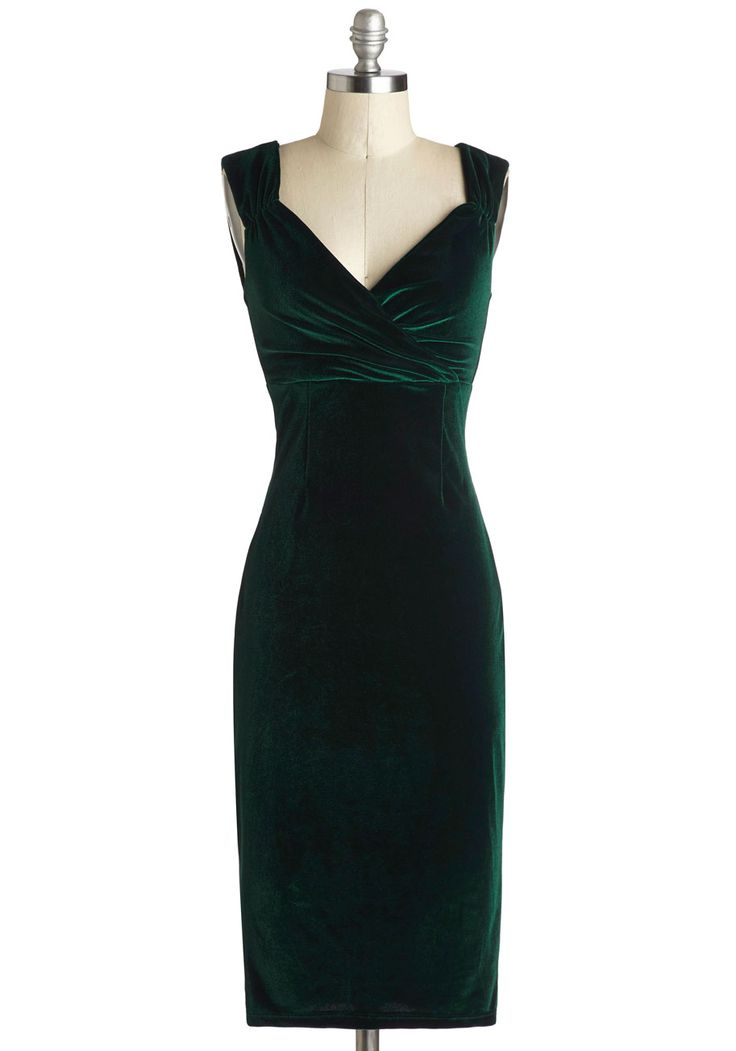 Lady Love Song Dress in Emerald Velvet. Who wouldn't want to croon a ballad when they see you in this sultry frock, found exclusively at ModCloth? #green #modcloth