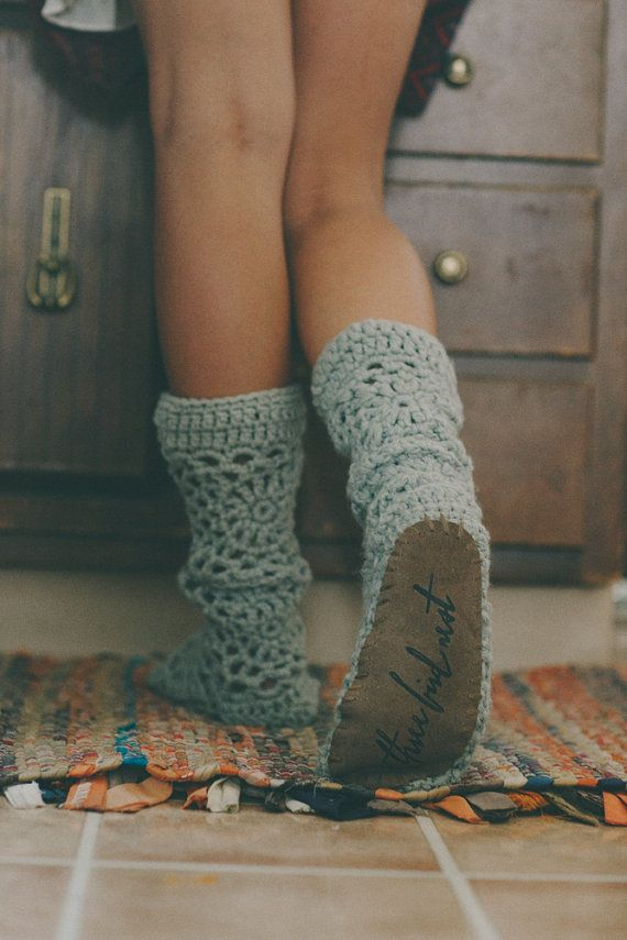 Muk Luks, Slippers, Leather, Crocheted Socks, House Socks, For Her, Stocking Stuffers, Women's Accessories, Leather Bottom (SL-141)