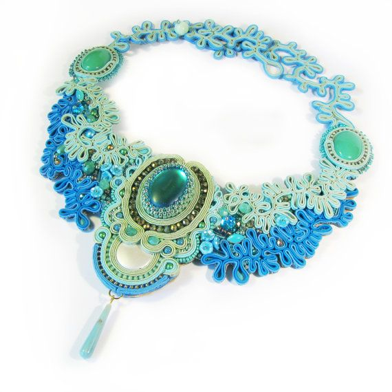 Soutache necklace Mermaid by Lolissa on Etsy