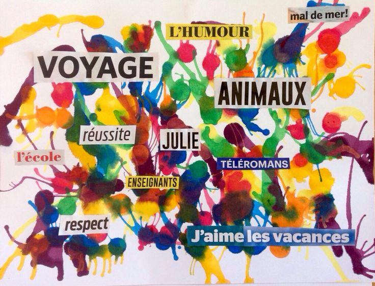 Projet mix media où les élèves collent des mots significatifs pour eux, sur un fond d'encre.